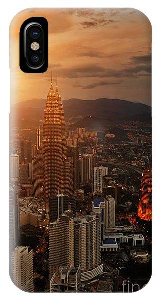 Hotel iPhone Case - Kuala Lumpur Sunset Scene With Petronas by Vitaly Titov