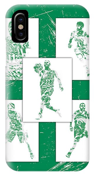 Celtics iPhone Case - Kyrie Irving Boston Celtics Panel Pixel Art 1 by Joe Hamilton
