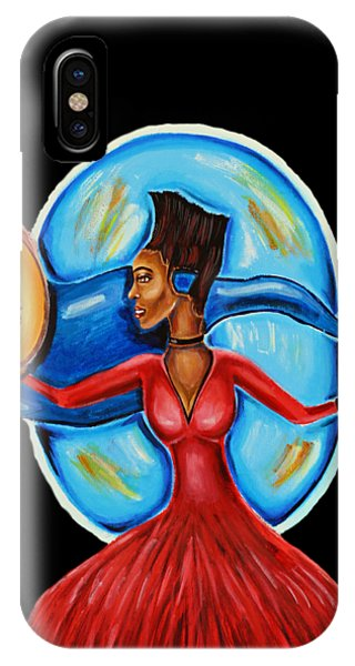 African Goddess Lady In Red Afrocentric Art Mother Earth Black Woman Art IPhone Case