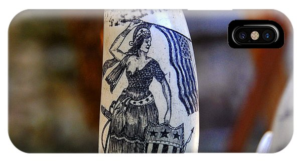 iPhone Case - Lady Liberty Scrimshaw 1700s by David Lee Thompson