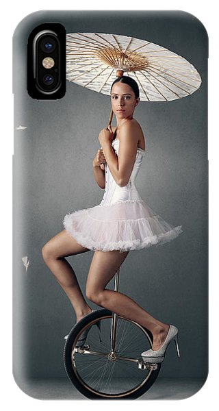 Parasol iPhone Case - Lady On A Unicycle by Johan Swanepoel