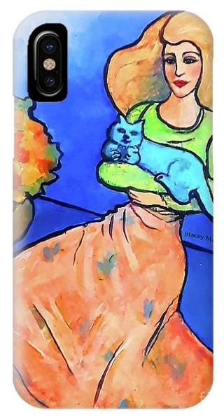 Lady With Blue Cat IPhone Case