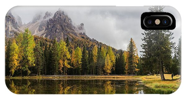 Serenity iPhone Case - Lago Antorno With Mauntain Reflected In by Stephen Mulligan