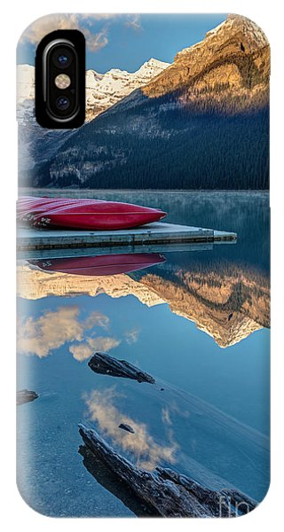 Rocky Mountain Landscape iPhone Case - Lake Louise Canoes In Banff National by Pierre Leclerc