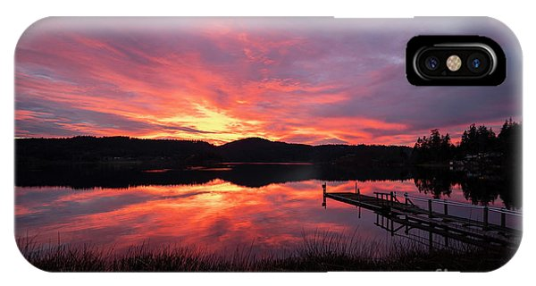 Whidbey iPhone Case - Lakeside Sunset Reflection Serenity by Mike Reid