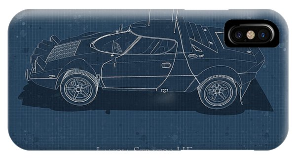 Lancia Stratos Hf - Side View - Stained Blueprint IPhone Case