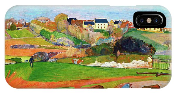 At Work iPhone Case - Landscape At Le Pouldu - Digital Remastered Edition by Paul Gauguin
