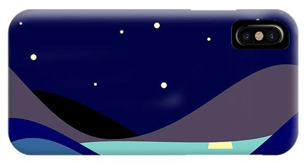 Space iPhone Case - Landscape. Moonlit Night. Vector by Kizuneko