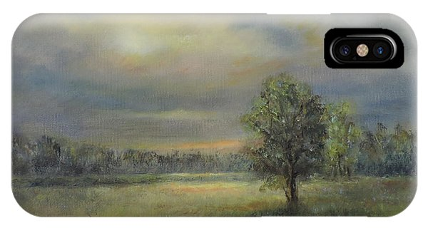 Landscape Of A Meadow With Sun And Trees IPhone Case