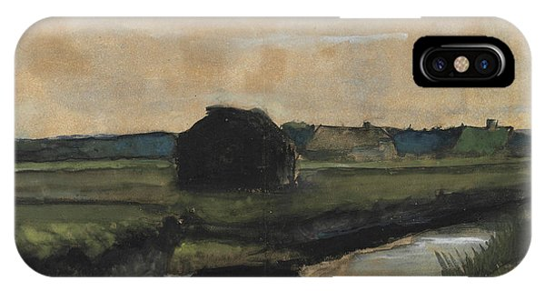 Van Gogh Museum iPhone Case - Landscape With A Stack Of Peat And Farmhouses by Vincent Van Gogh