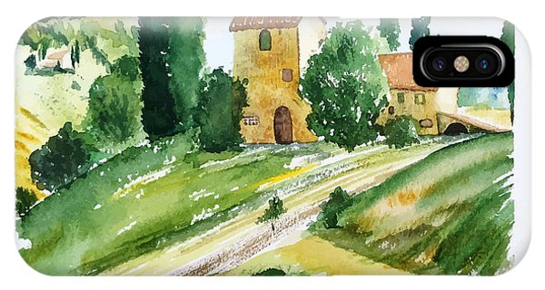 Farmland iPhone Case - Landscape With Houses, Watercolor by Jullyg