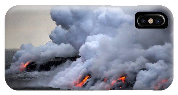 Heat iPhone Case - Lava Erupting Into Pacific Ocean During by George Burba