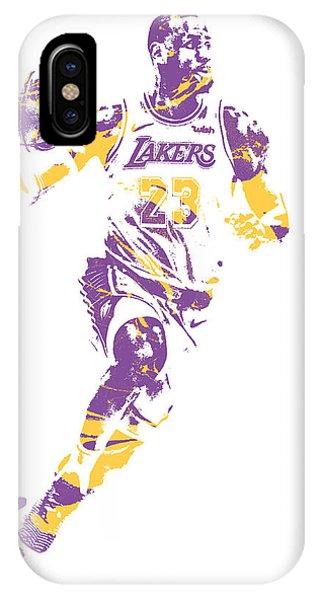 Tickets iPhone Case - Lebron James Los Angeles Lakers Pixel Art 2 by Joe Hamilton