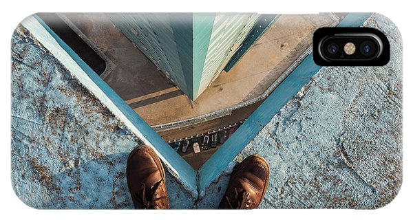 Clear iPhone Case - Legs Of A Man Standing On The Edge by Alexander Voskresensky