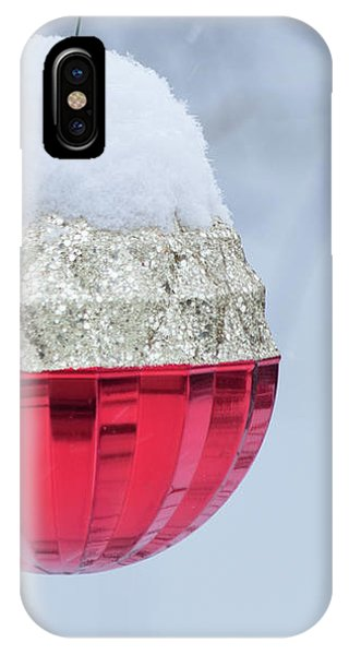 IPhone Case featuring the photograph Let It Snow On The Red Christmas Ball - Outside Winter Scene  by Cristina Stefan