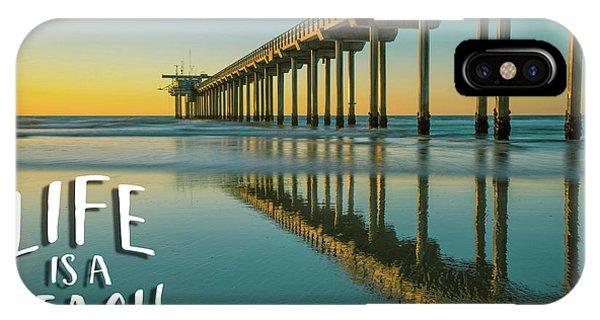 Scripps Pier iPhone Case - Life Is A Beach Scripps Pier La Jolla San Diego by Edward Fielding