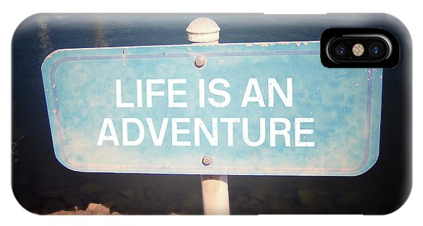 Street Sign iPhone Case -  Life Is An Adventure- Sign Art By Linda Woods by Linda Woods