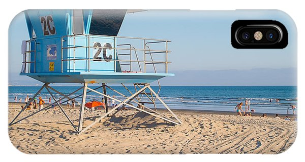 Surfboard iPhone Case - Lifeguard Tower At The Beach In San by Dancestrokes