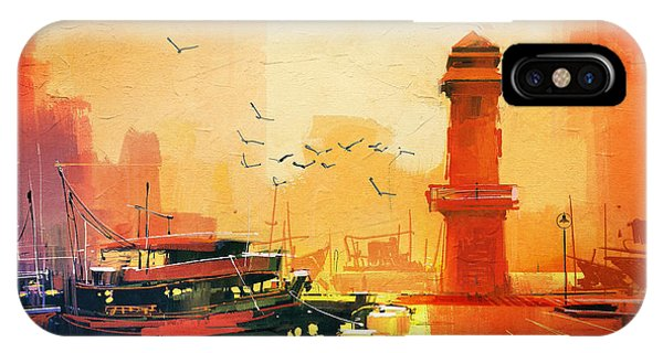 Sea Life iPhone Case - Lighthouse And Fishing Boat At by Tithi Luadthong