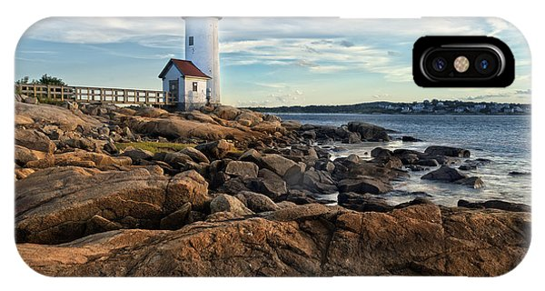 New England Coast iPhone Case - Lighthouse At Sunset Off Annisquam by Christian Delbert