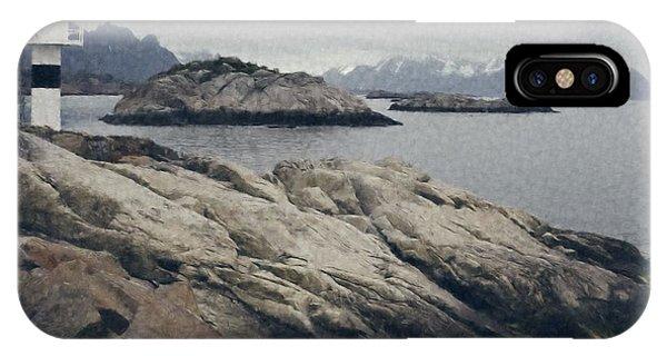 Lighthouse On Rocks Near The Atlantic Coast, Digital Art Oil Pai IPhone Case