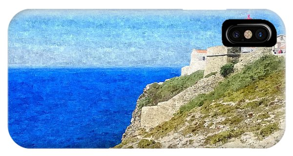 Lighthouse On Top Of A Cliff Overlooking The Blue Ocean On A Sunny Day, Painted In Oil On Canvas. IPhone Case