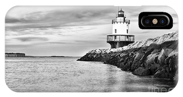 Scenic New England iPhone Case - Lighthouse On Top Of A Rocky Island In by Stuart Monk