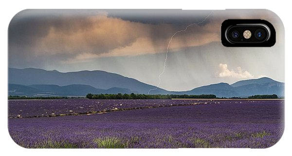 Lightning Over Lavender Field IPhone Case