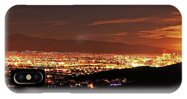 Lights Of Tucson And Moonrise IPhone Case