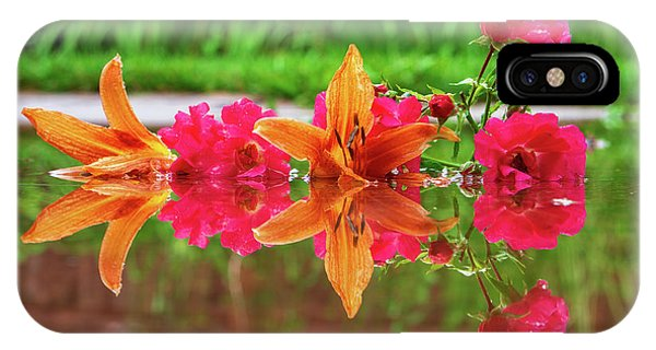 Lilies And Roses Reflection IPhone Case