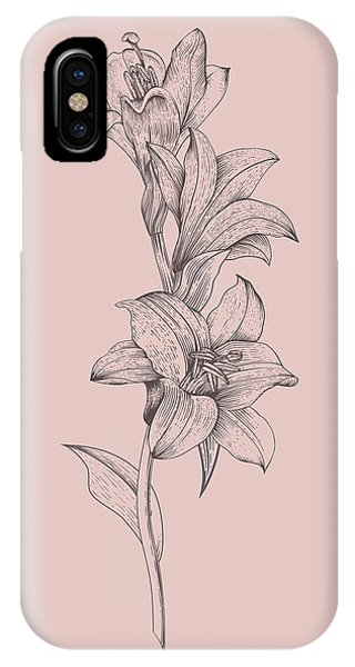 Bouquet iPhone X Case - Lily Blush Pink  Flower by Naxart Studio