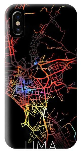 Peru iPhone Case - Lima Peru Watercolor City Street Map Dark Mode by Design Turnpike