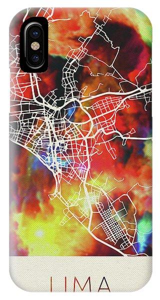 Peru iPhone Case - Lima Peru Watercolor City Street Map by Design Turnpike