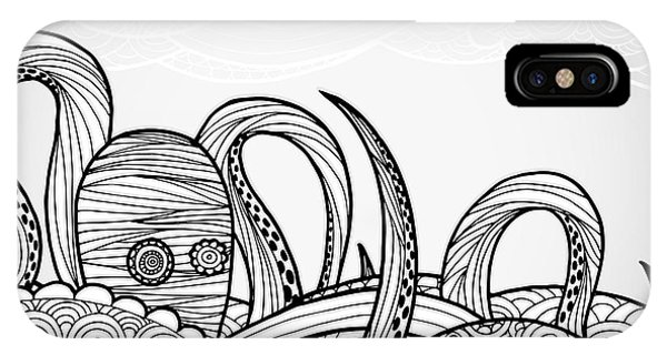 Sketch Pen iPhone Case - Line Art Octopus In Textured Waves by Artplay