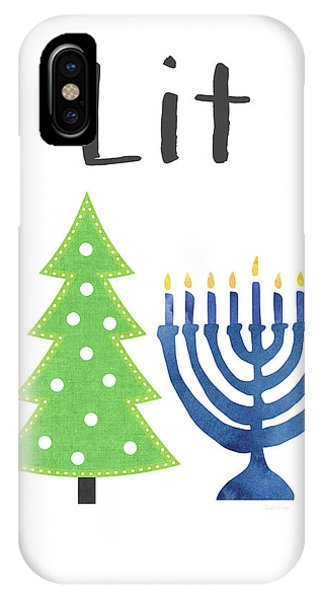 Christmas Tree iPhone Case - Lit Christmas And Hanukkah- Art By Linda Woods by Linda Woods