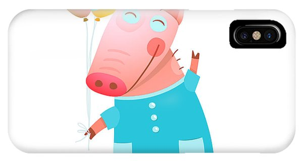 Celebration iPhone Case - Little Adorable Baby Pig With Balloons by Popmarleo
