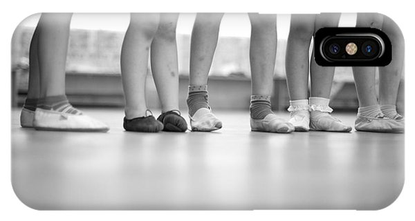 Classroom iPhone Case - Little Ballerinas Legs Standing In A by Anna Jurkovska