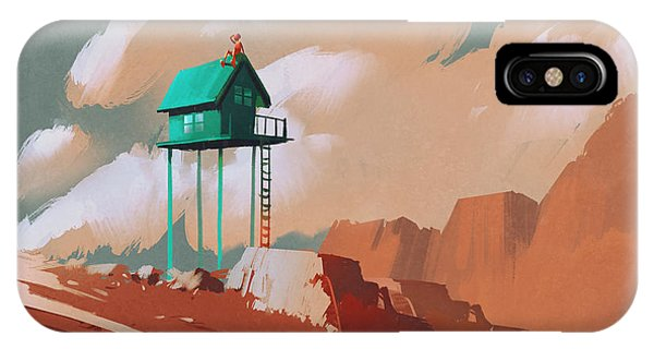 Red Rock iPhone X Case - Little Green House On Large by Tithi Luadthong