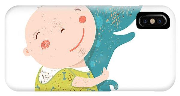 Small Dog iPhone Case - Little Kid Hugs Dog Best Happy Friends by Popmarleo