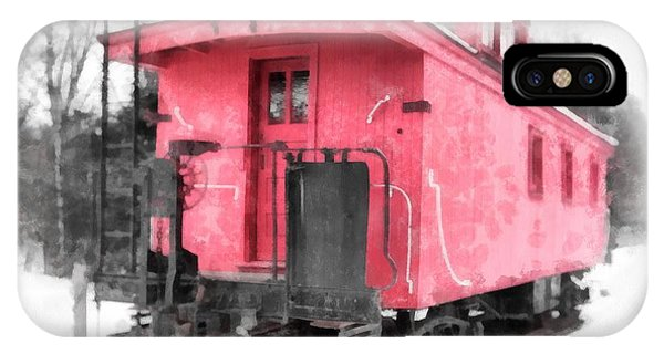 Railroad Station iPhone Case - Little Red Caboose Watercolor by Edward Fielding
