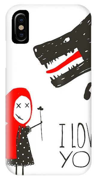 Present iPhone Case - Little Red Riding Presenting Flower To by Popmarleo