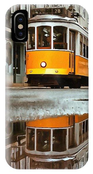 Trolley Car iPhone Case - Little Yellow Trolley by Edward Fielding