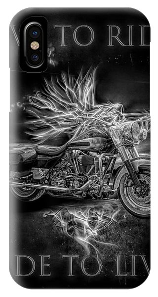 Light Speed iPhone Case - Live To Ride, Ride To Live Black And White by Debra and Dave Vanderlaan