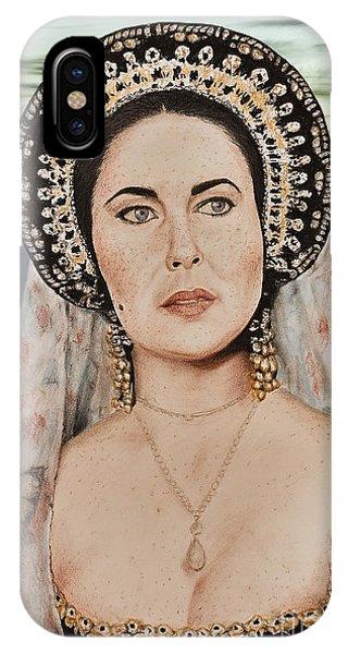 Child Actress iPhone Case - Liz Taylor Renaissance Portrait At Sunset by Jim Fitzpatrick