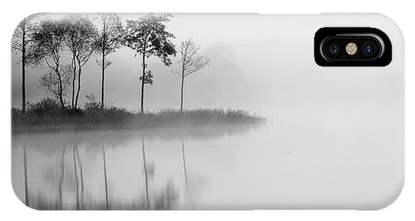 Loch Ard iPhone Case - Loch Ard Trees In The Mist Reflecting by Targn Pleiades