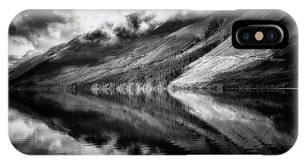 Beautiful Scotland iPhone Case - Loch Lochy Reflection No 2 Mono by Chris Fletcher
