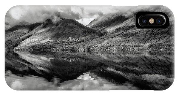Beautiful Scotland iPhone Case - Loch Lochy Reflections No 9 Mono by Chris Fletcher