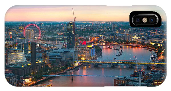 Office Buildings iPhone Case - London At Sunset, Panoramic View by Ir Stone