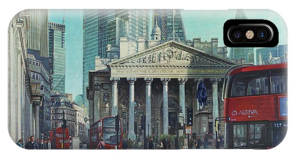 London City Bank Area In Sunny Autumn IPhone Case
