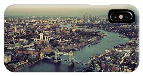 Rooftops iPhone Case - London Rooftop View Panorama At Sunset by Songquan Deng